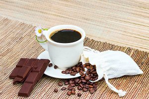 Coffee beans and choclate