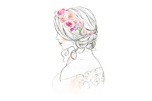Watercolor Woman Bride Illustration