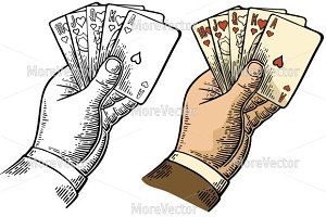 Royal flush in hearts hand hold card