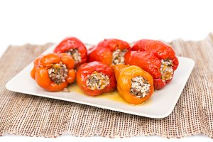 Peppers with meat and rise