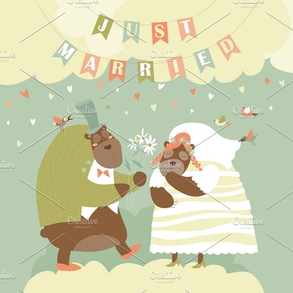 Two lovely bears. Just married - Illustrations