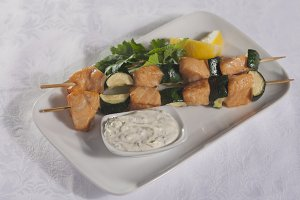 Skewers of fish