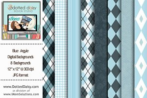 Blue Argyle Digital Backgrounds