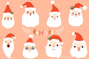 Cute Santa faces clip art set