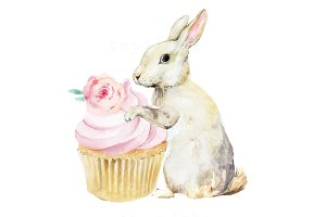 Bunny Rabbit Hare Cupcake Watercolor