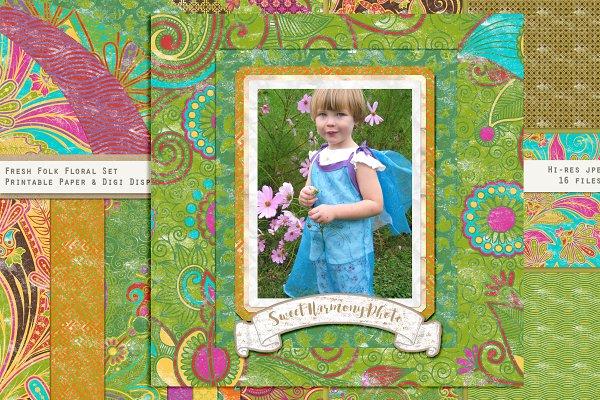 Fresh Folk Floral Paper Pattern Set