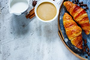 Coffee and two croissants