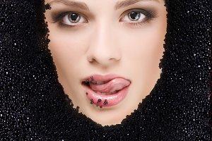 woman in black caviar