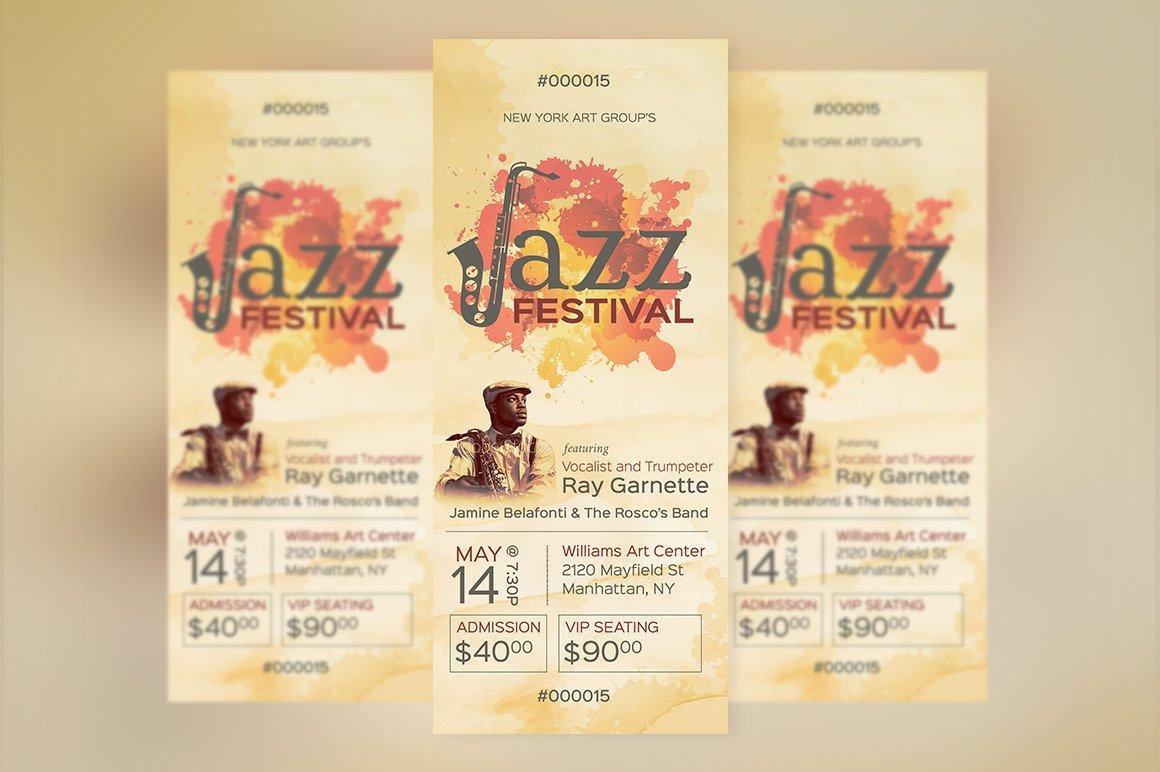 Jazz Event Ticket Template Creative Photoshop Templates Creative Market