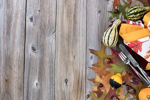 Fall Decor with dinner plate setting