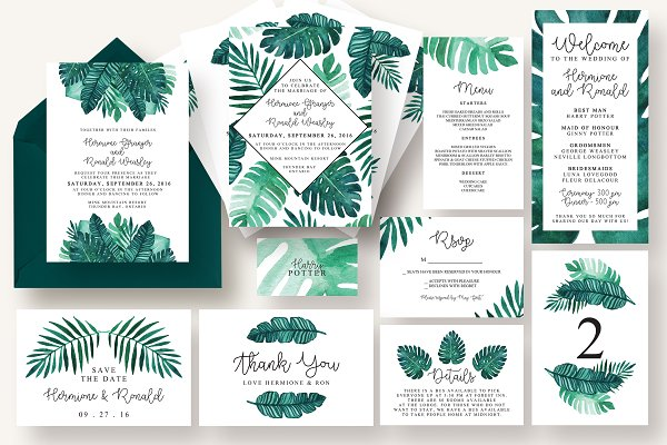 Tropical Leaves Invitation Suite Creative Photoshop Templates Creative Market Find customizable tropical invitations of all sizes. tropical leaves invitation suite