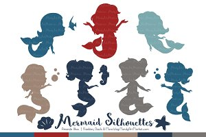 Mermaid Silhouettes in Americana