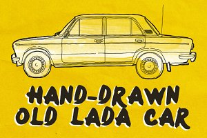 Hand-Drawn Old Lada Car