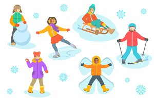 Kids winter outdoor games and sport