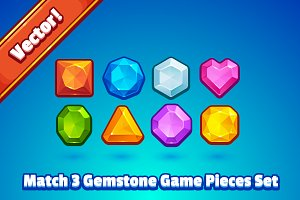 Match 3 Gemstone Game Pieces
