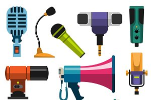 Different microphones types vector