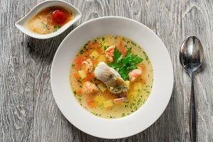 Beautiful presentation of the fish soup.