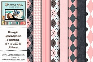 Pink Argyle Digital Backgrounds