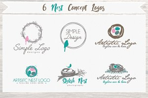 6 Nest - Bird - Concept Logo Bundle