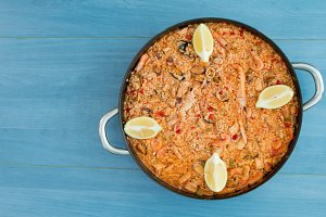 Spanish food. Seafood paella