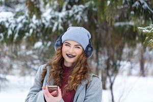 Hipster Girl listening to music