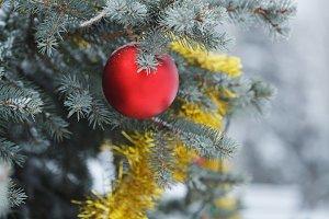Red ball and tinsel Christmas