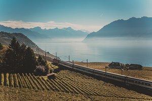 Railroad tracks in Swiss mountains