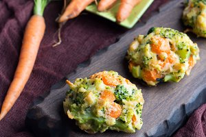 Vegetable patties with carrots and broccoli. Vertical
