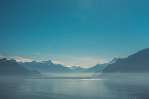 View on lake and mountains in Swiss