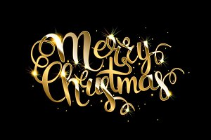 Merry Christmas! Gold lettering.