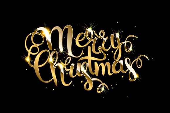 Merry Christmas Gold lettering Graphics Creative Market
