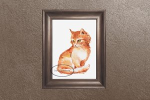 Ginger cat. Watercolor