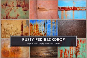Rusty Textures PSD Backgrounds