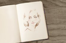 Female face. Sketch