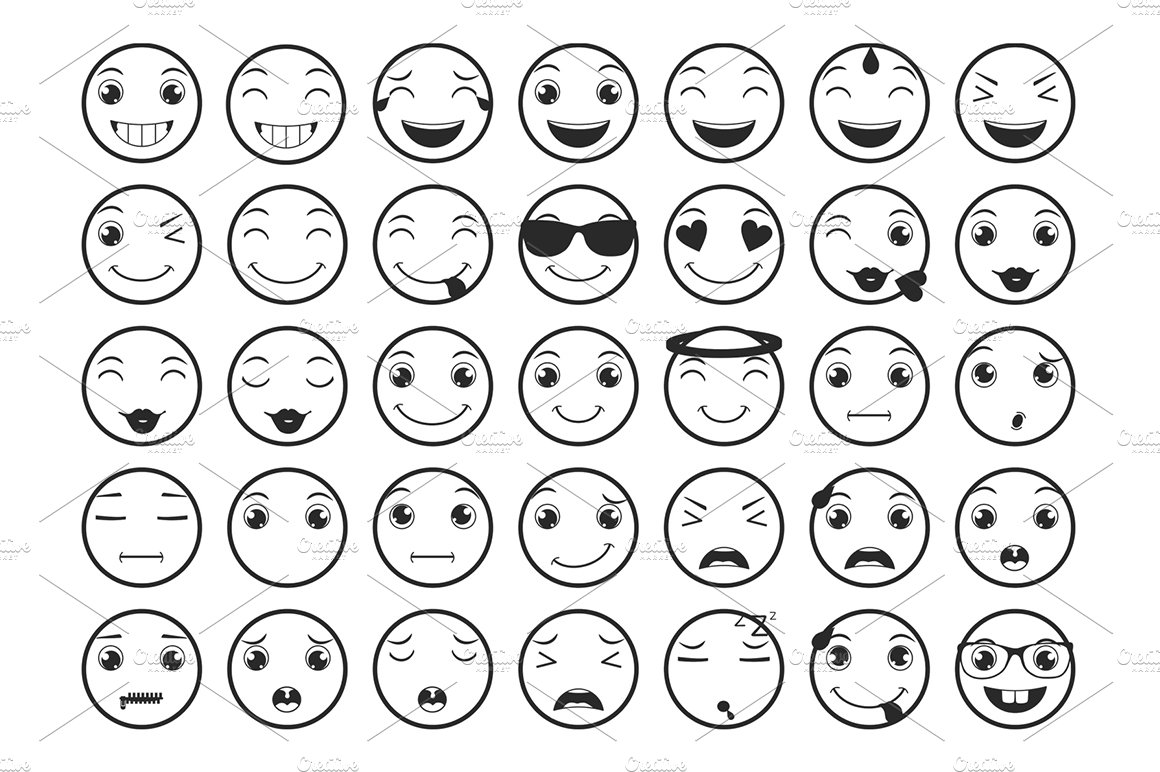 Line Emoticons / Emoji Vector Set ~ Icons ~ Creative Market