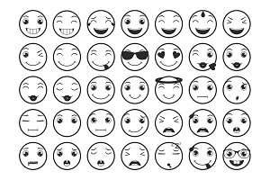 Line Emoticons / Emoji Vector Set