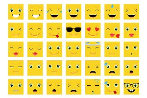 Square Emoticons / Emoji Vector Set