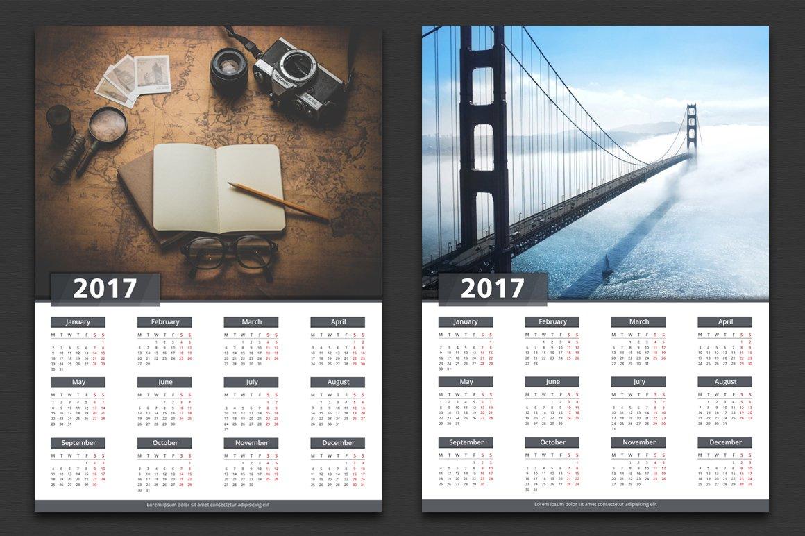 2017 calendar stationery templates creative market. Black Bedroom Furniture Sets. Home Design Ideas