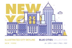 New York x Illustrated City Skyline