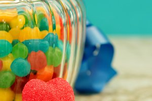 Nice glass container with candies