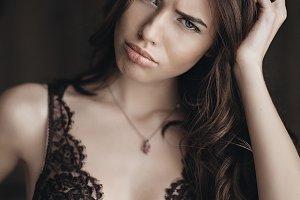Beautiful brunette model in lingerie