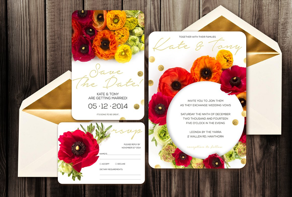 Wedding Invitation Ep1 ~ Invitation Templates ~ Creative Market