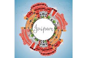 Jaipur Skyline with Color Landmarks