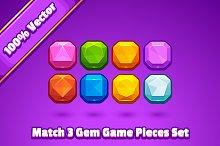 Match 3 Gem Game Pieces
