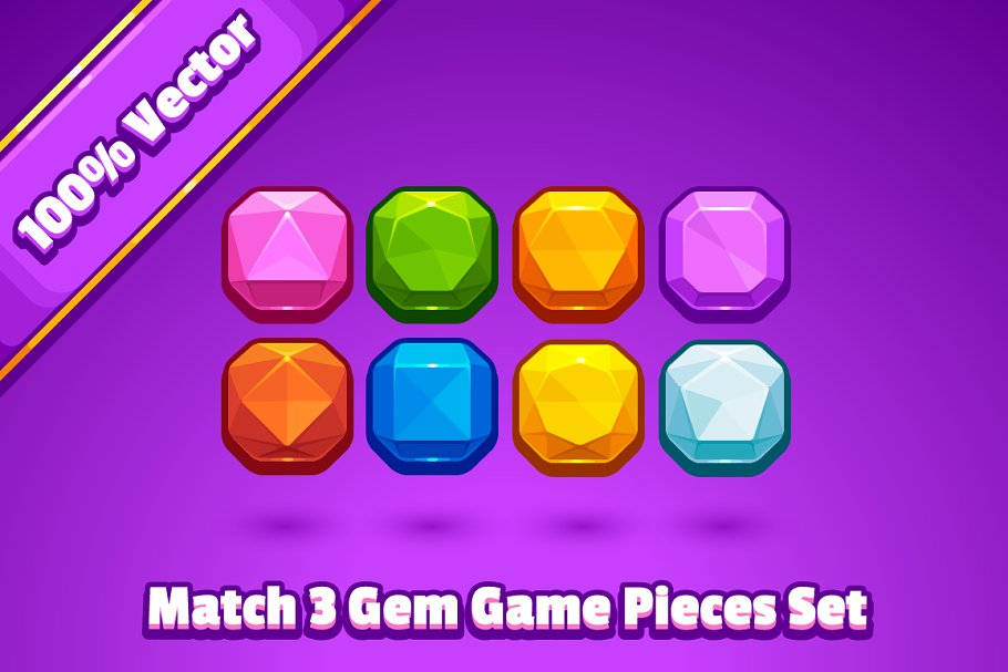 Match 3 Gem Game Pieces