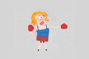 3d illustration. Boxing girl.