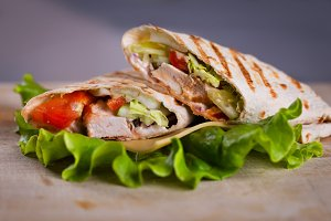 Fresh homemade chicken wrap tortilla