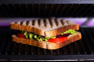Fresh sandwich in a grill