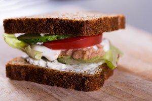 Fresh homemade grilled tuna sandwich on wood