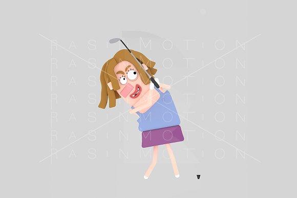 3d illustration. Woman playing golf. - Illustrations